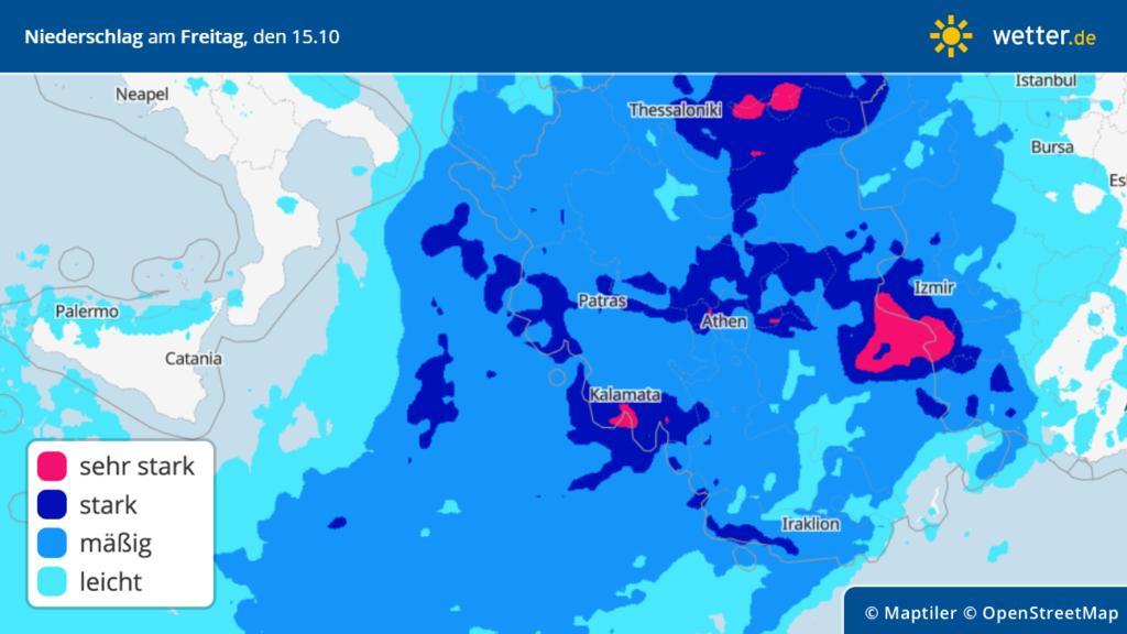 Prognose: Regen für die Türkei und Griechenland am Freitag, 15.10.2021