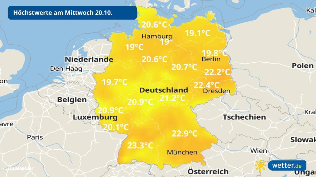 Temperaturen am Mittwoch