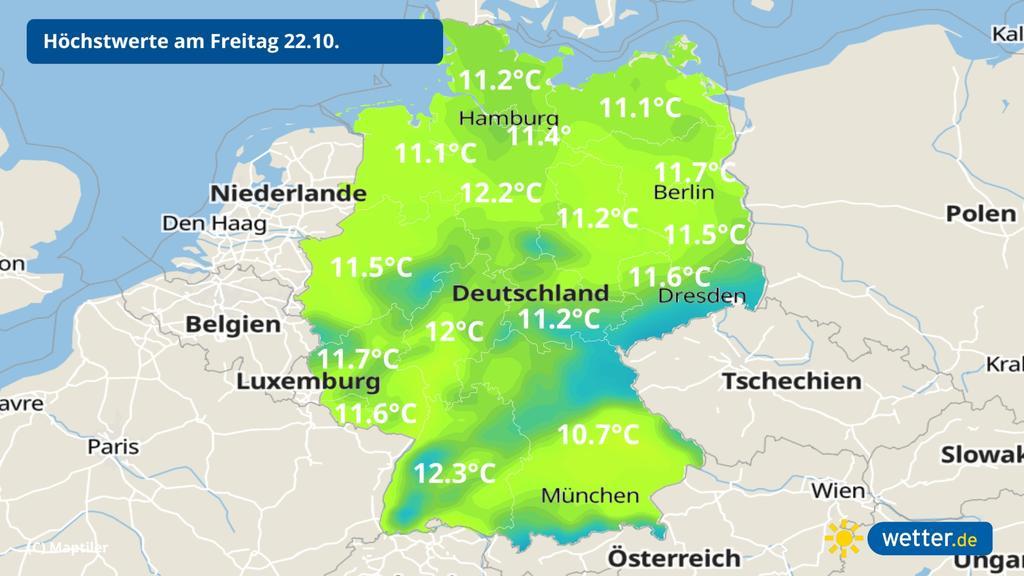 Die Höchsttemperaturen am Freitag liegen rund 10 Grad tiefer als am Mittwoch.