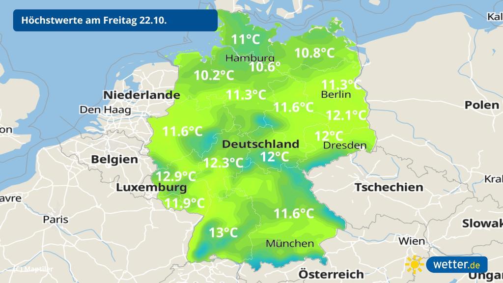 Temperaturen am Freitag: Herbstlich frisch,
