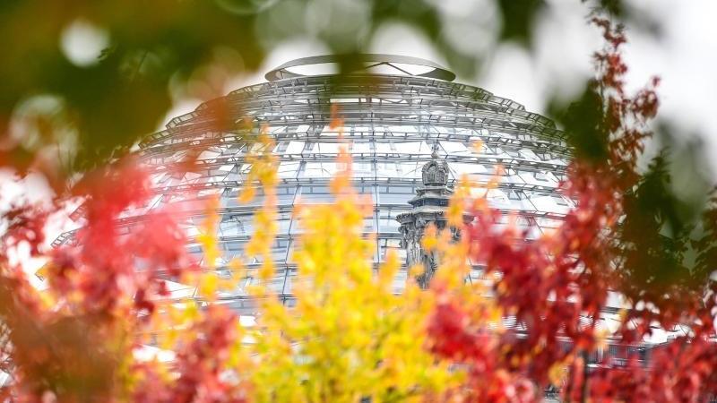 rot-gelb-grun-herbstlich-verfarbte-blatter-sind-an-baumen-vor-der-reichstagskuppel-zu-sehen-foto-britta-pedersendpa-zentralbilddpa
