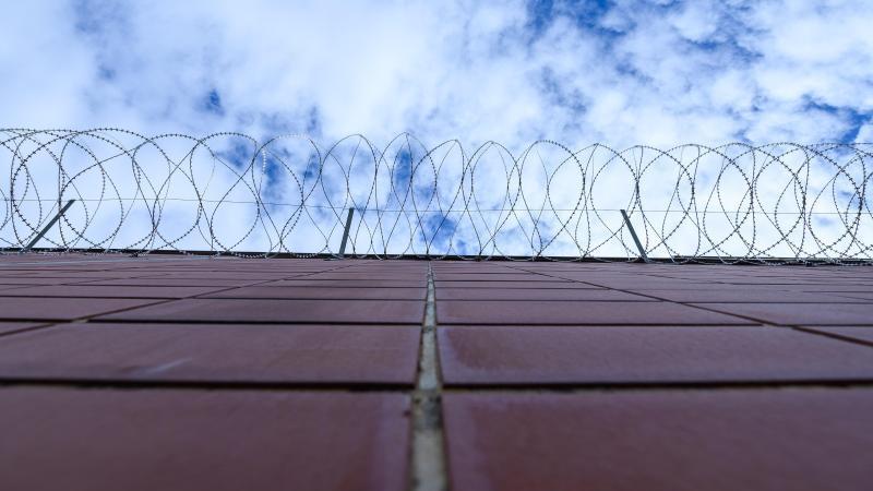 stacheldrahtzaun-ist-an-einer-mauer-in-einer-justizvollzugsanstalt-befestigt-foto-silas-steindpasymbolbild