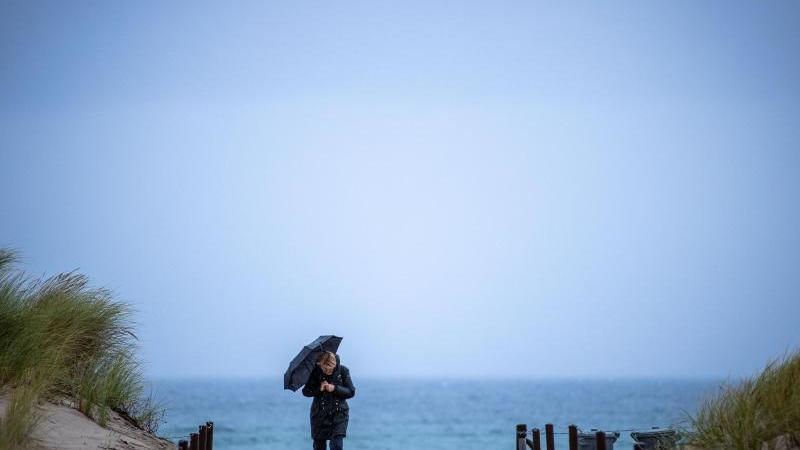 eine-frau-kommt-unter-einem-regenschirm-vom-ostseestrand-in-warnemunde-foto-jens-buttnerdpa-zentralbilddpa
