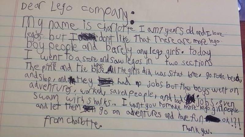 Die siebenjährige Charlotte prangert die Geschlechter-Stereotype der Legofiguren an.