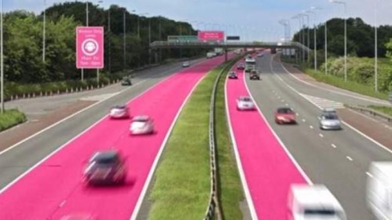 So könnten die rosa Fahrspuren der Zukunft aussehen.