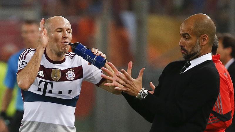 Erteilten dem AS Rom eine Fußball-Lektion: Arjen Robben und Bayern-Coach Pep Guardiola.