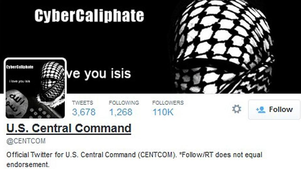"""Auf dem kurzzeitigen Hintergrundbild des Twitteraccounts des Zentralkommandos steht """"i love you isis""""."""