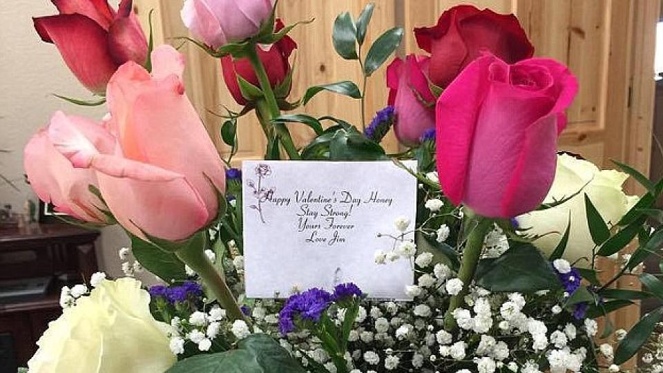Diesen Blumenstrauß erhielt Shelly von ihrem Ehemann. Jim bestellte die Blumen nachdem er erfuhr, dass er sterben wird.