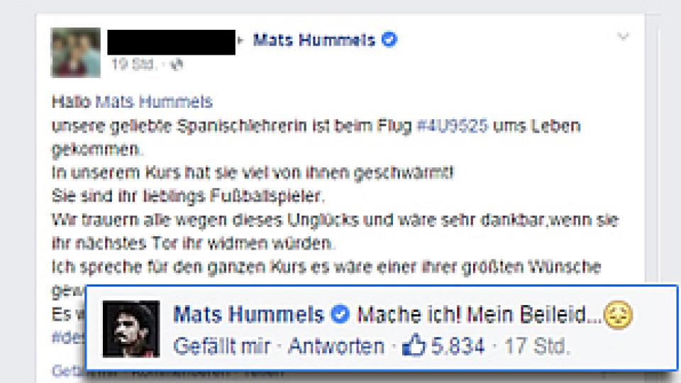 Schüler aus Haltern bittet Mats Hummels um ein Tor für seine verunglückte Lehrerin