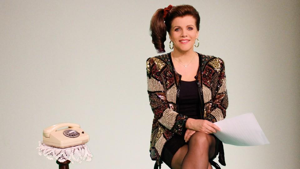 RTL-Moderatorin Birgit Schrowange als Fernsehansagerin der 80er Jahre.