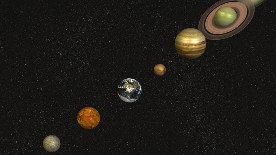 Sonnensystem mit der Sonne im Mittelpunkt und den Planeten Merkur, Venus, Erde,  Mars, Jupiter, Saturn, Uranus, Neptun / Solar system with the sun in the center and the planets mercury, venus, earth, mars, Jupiter, Saturn, Uranus, neptune Keine Weite