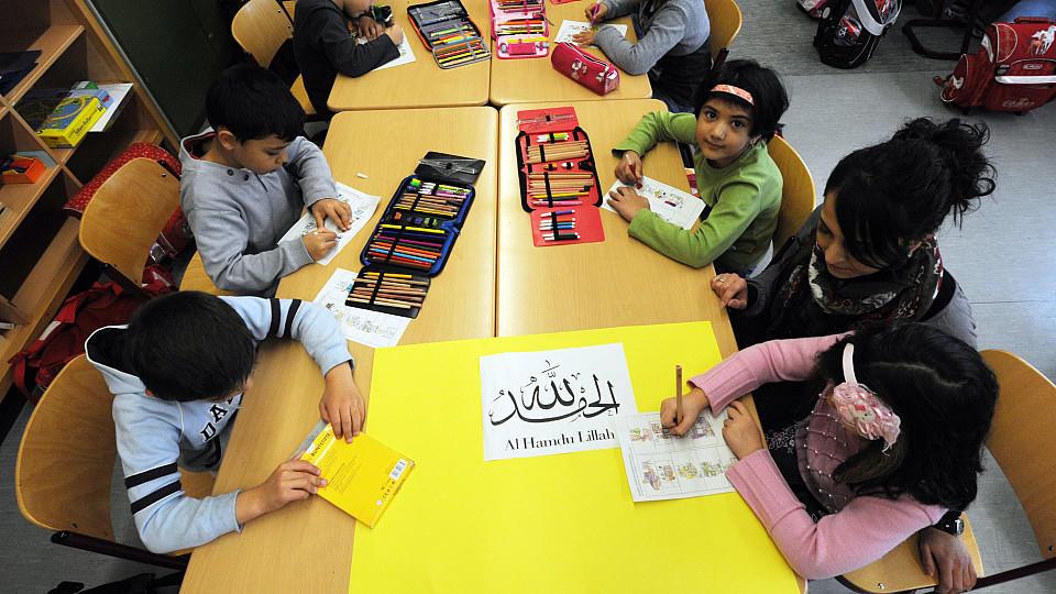 Kinder während des Islamunterrichts an einer Grundschule in Baden-Württemberg,