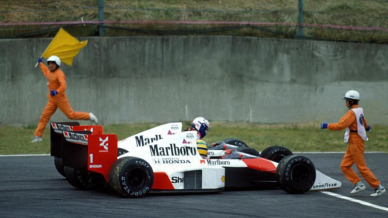 Ayrton Senna -BRA- und Teamkollege Alain Prost -FRA- McLaren MP4/5 F1 GP Japan 1989