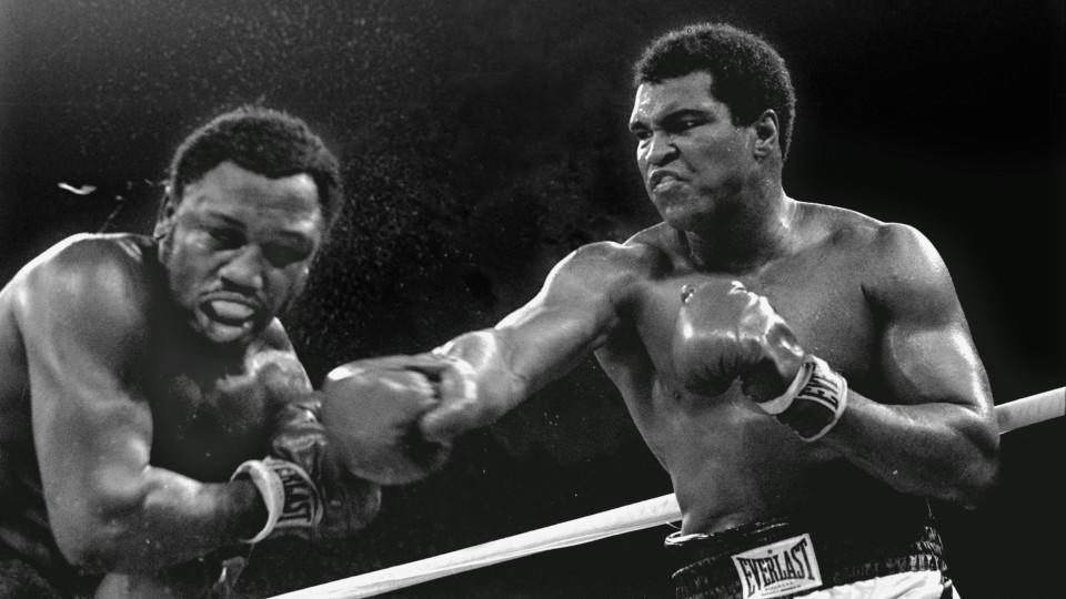 FILE - In this Oct. 1, 1975, file photo, heavyweight champion Muhammad Ali connects with a right to challenger Joe Frazier in the ninth round of their title fight in Manila, Philippines. It was, Muhammad Ali would later say, the closest thing to deat