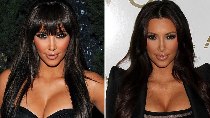 Kim Kardashian mit Ponyfrisur und ohne