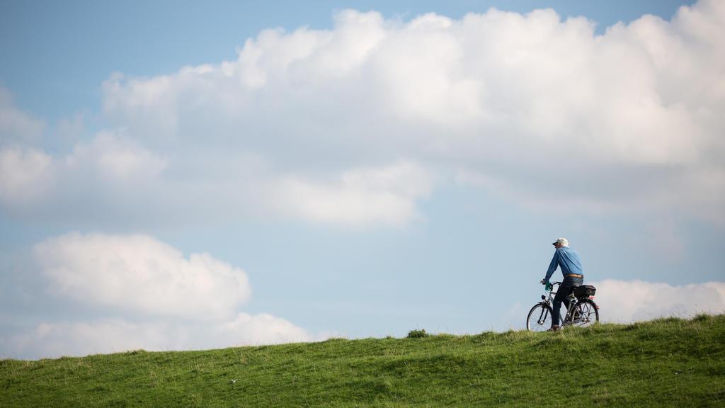 Ein Radfahrer fährt am 06.09.2016 bei Brunsbüttel (Schleswig-Holstein) bei strahlendem Sonnenschein auf dem Deich an der Elbe stromaufwärts. Foto: Christian Charisius/dpa +++(c) dpa - Bildfunk+++