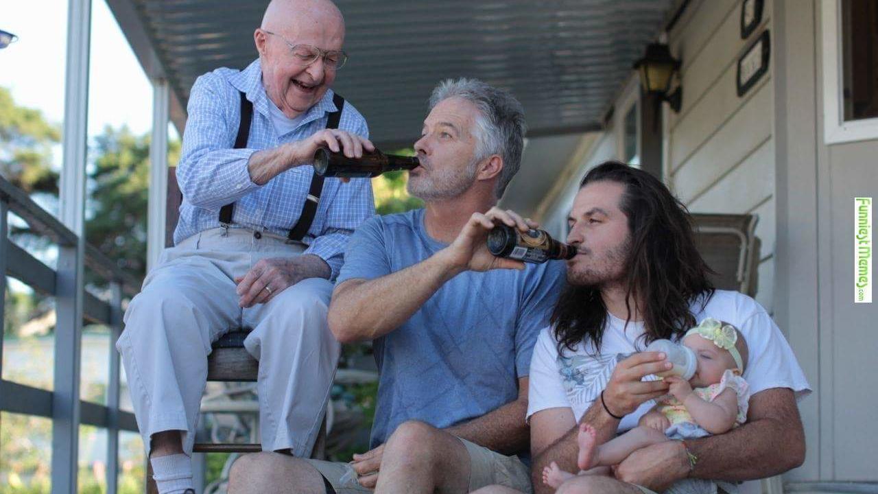 Väter füttern ihre 'Babys'