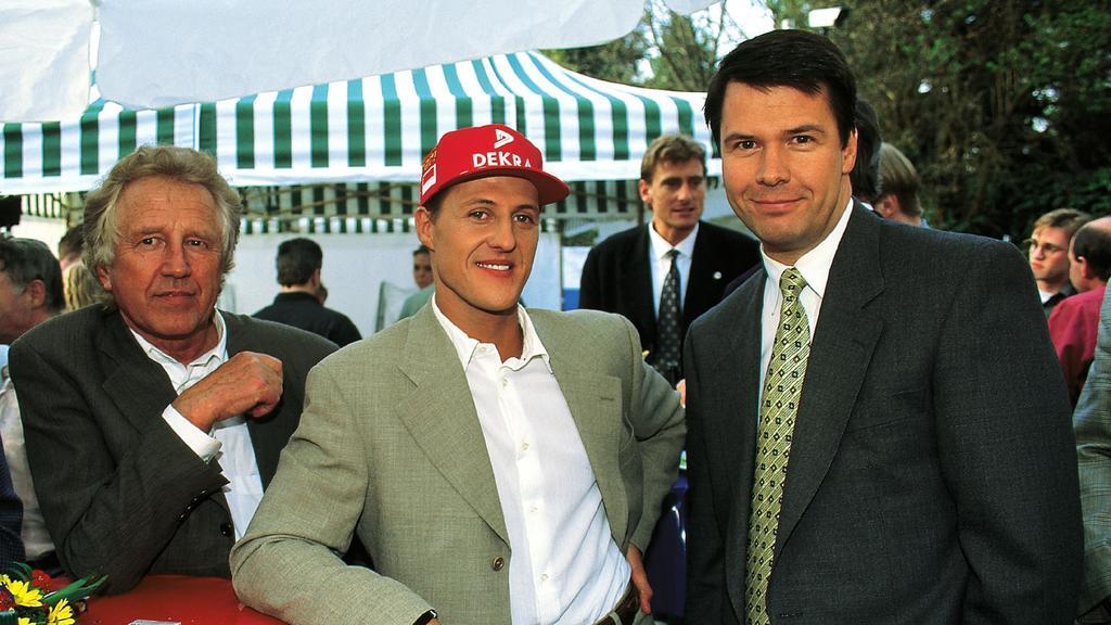 Peter Kloeppel 1996 mit Michael Schumacher.