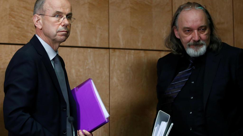Tim van Beveren und Guenter Lubitz leave news conference in Berlin, Germany, March 24, 2017.     REUTERS/Fabrizio Bensch