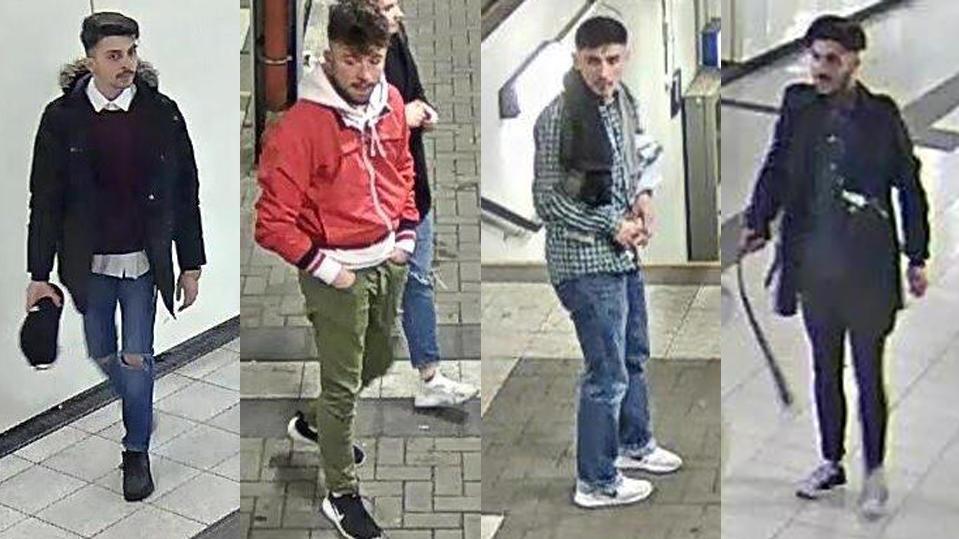 Die Bundespolizei sucht mit Überwachungsaufnahmen nach diesen vier jungen Männern. (Foto: Polizei)