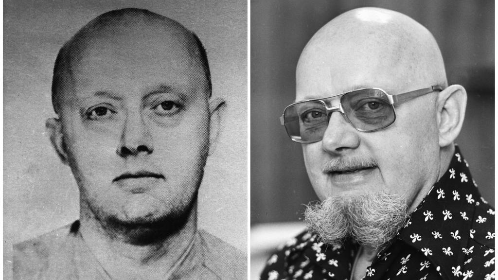 KOMBO - HANDOUT - Die Bildkombo zeigt ein Fahndungsfoto (l) der US-Behörde FBI aus den 60er Jahren von Benjamin Hoskins Paddock, der wegen Bankraubs gesucht wurde und aus dem Gefängnis ausbrach, sowie ein Foto aus dem Jahr 1977 (r) von Benjamin Hoski