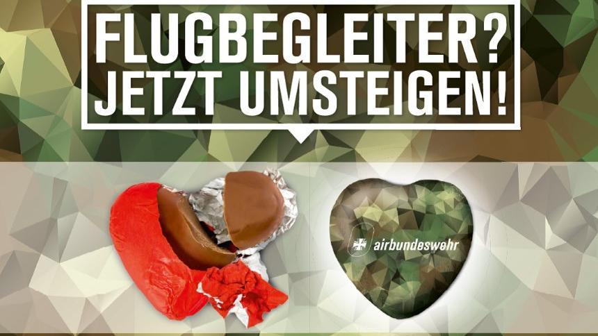 Witzige Werbeaktion mit konkretem Jobangebot: So charmant wirbt die Bundeswehr um ehemalige Air-Berlin-Mitarbeiter.