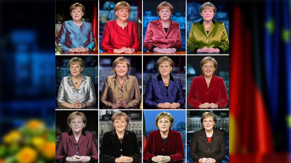 Bundeskanzlerin Angela Merkel bei ihren vergangenen 12 Neujahrsansprachen